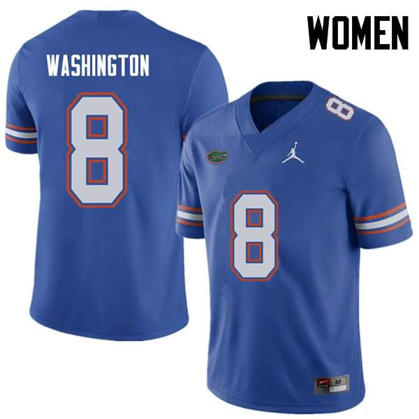 Women's Florida Gators #8 Nick Washington Royal Jordan Brand NCAA College Football Jersey OXA712CJ