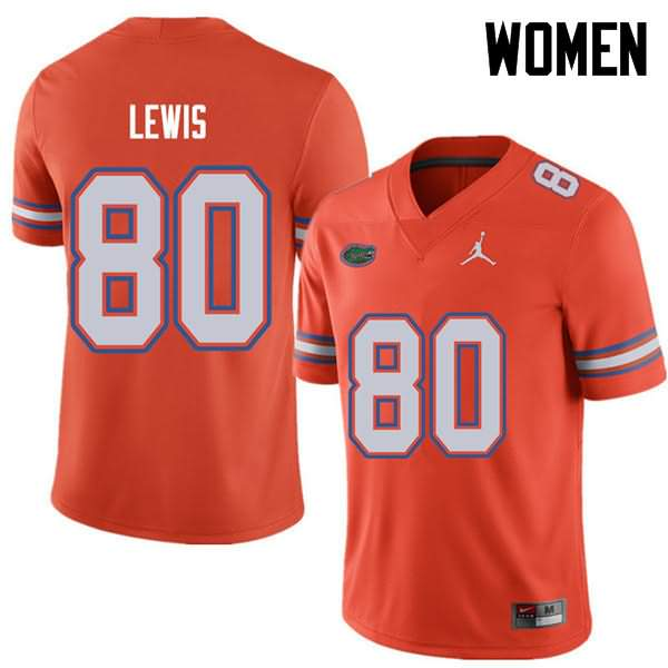 Women's Florida Gators #80 C'yontai Lewis Orange Jordan Brand NCAA College Football Jersey ZGG110XJ