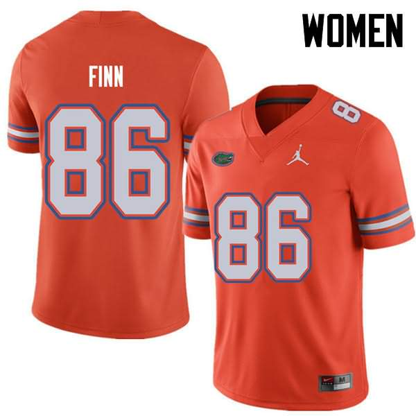 Women's Florida Gators #86 Jacob Finn Orange Jordan Brand NCAA College Football Jersey LZE837LJ