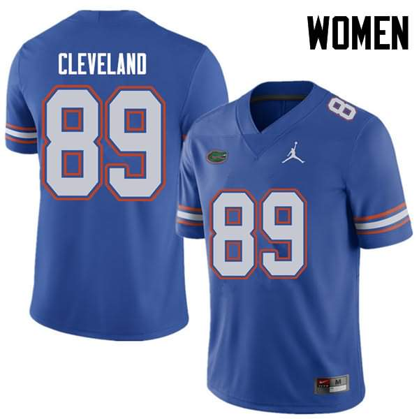 Women's Florida Gators #89 Tyrie Cleveland Royal Jordan Brand NCAA College Football Jersey PSB603QJ
