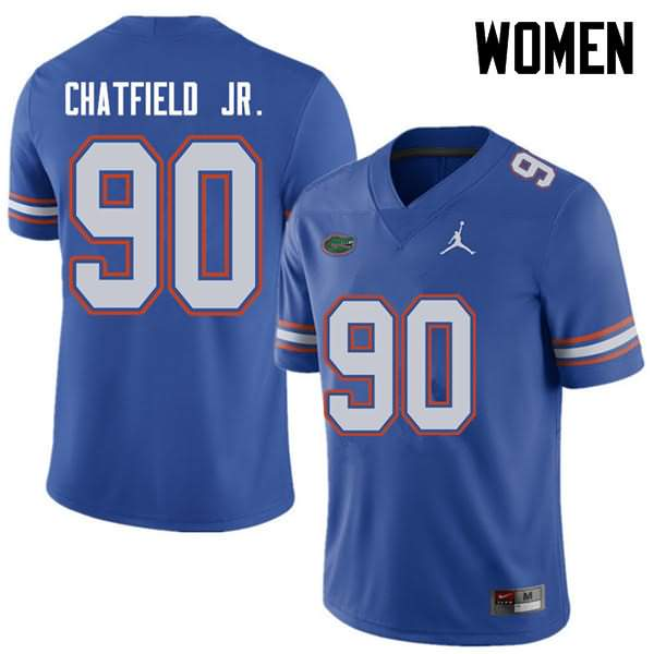 Women's Florida Gators #90 Andrew Chatfield Jr. Royal Jordan Brand NCAA College Football Jersey FGS780IJ