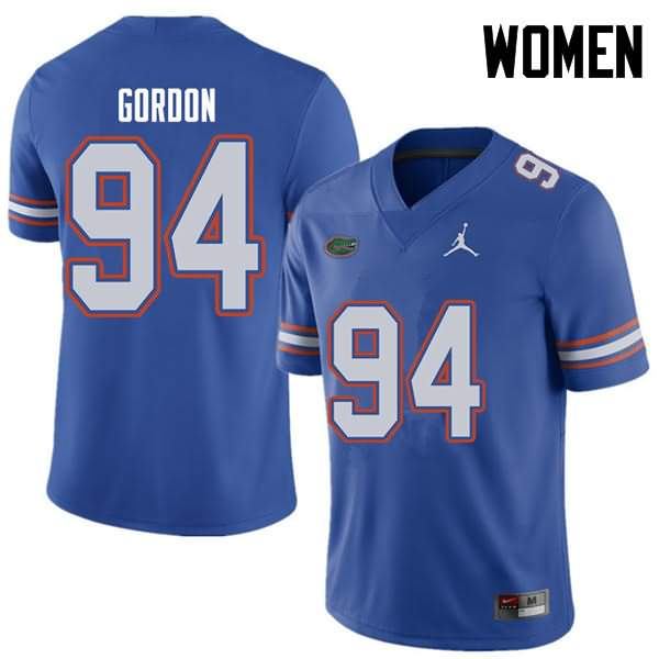 Women's Florida Gators #94 Moses Gordon Royal Jordan Brand NCAA College Football Jersey QGC133EJ