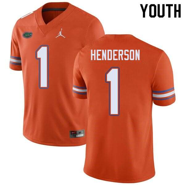 Youth Florida Gators #1 CJ Henderson Orange Jordan Brand NCAA College Football Jersey OFO434ZJ