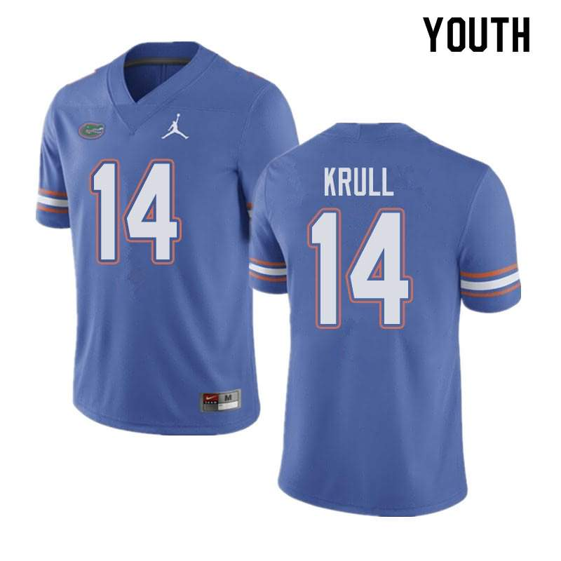 Youth Florida Gators #14 Lucas Krull Blue Jordan Brand NCAA College Football Jersey BGN655VJ