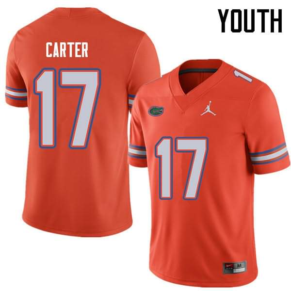 Youth Florida Gators #17 Zachary Carter Orange Jordan Brand NCAA College Football Jersey MIN826GJ