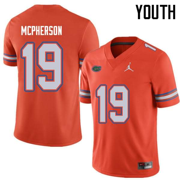 Youth Florida Gators #19 Evan McPherson Orange Jordan Brand NCAA College Football Jersey YMD684BJ