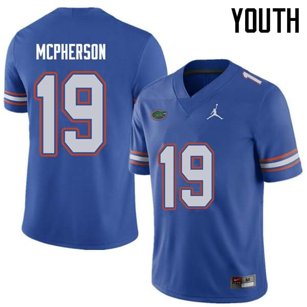 Youth Florida Gators #19 Evan McPherson Royal Jordan Brand NCAA College Football Jersey AKP331ZJ