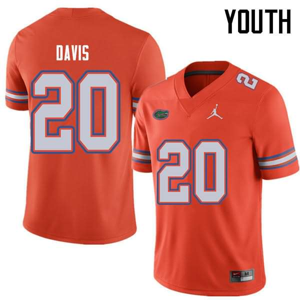 Youth Florida Gators #20 Malik Davis Orange Jordan Brand NCAA College Football Jersey INZ142YJ