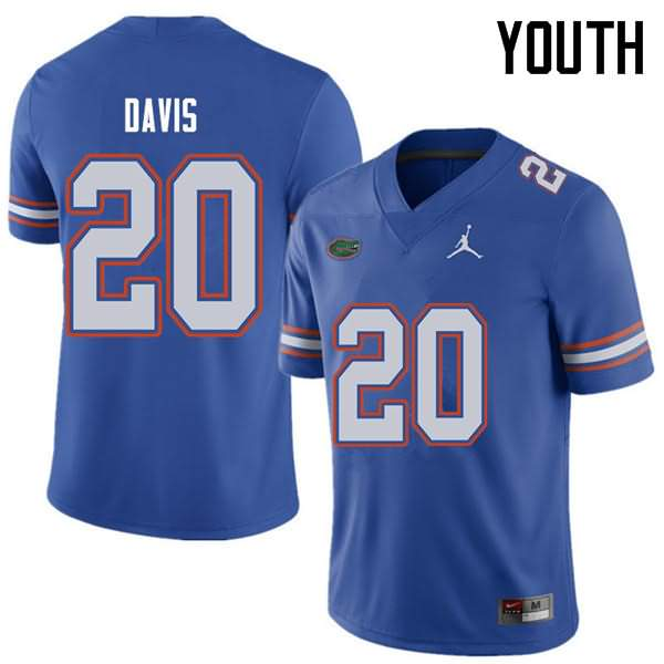 Youth Florida Gators #20 Malik Davis Royal Jordan Brand NCAA College Football Jersey DZO004IJ