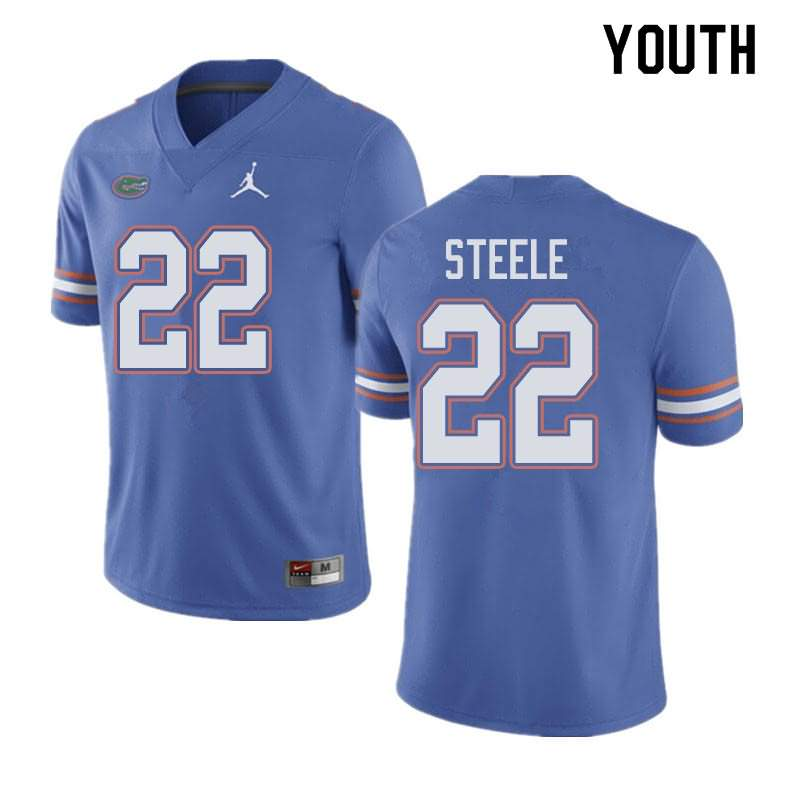 Youth Florida Gators #22 Chris Steele Blue Jordan Brand NCAA College Football Jersey XSL523AJ