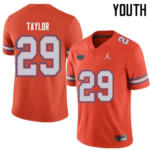 Youth Florida Gators #29 Jeawon Taylor Orange Jordan Brand NCAA College Football Jersey EEV355AJ