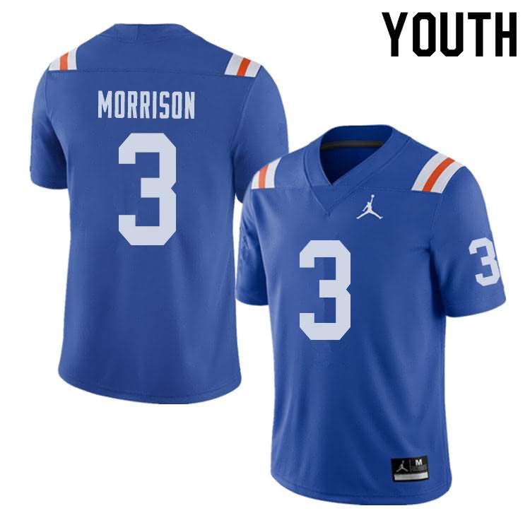 Youth Florida Gators #3 Antonio Morrison Alternate Throwback Jordan Brand NCAA College Football Jersey TID863RJ