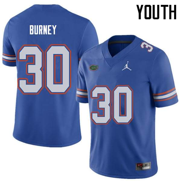 Youth Florida Gators #30 Amari Burney Royal Jordan Brand NCAA College Football Jersey RML254GJ