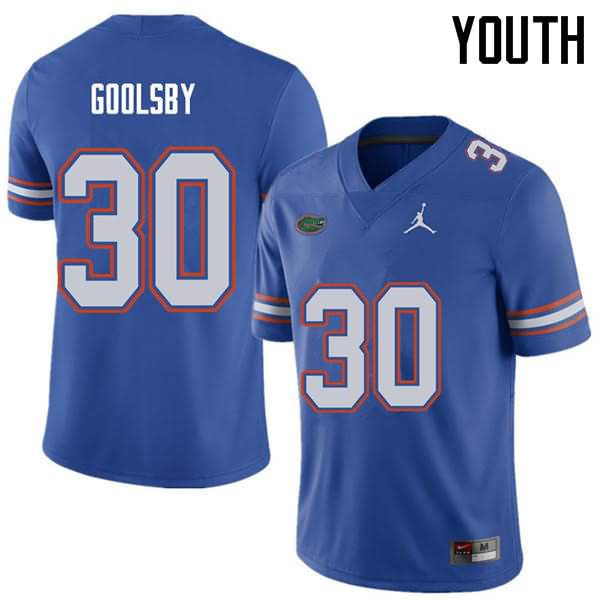 Youth Florida Gators #30 DeAndre Goolsby Royal Jordan Brand NCAA College Football Jersey HRO525UJ
