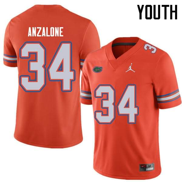 Youth Florida Gators #34 Alex Anzalone Orange Jordan Brand NCAA College Football Jersey QRY277WJ