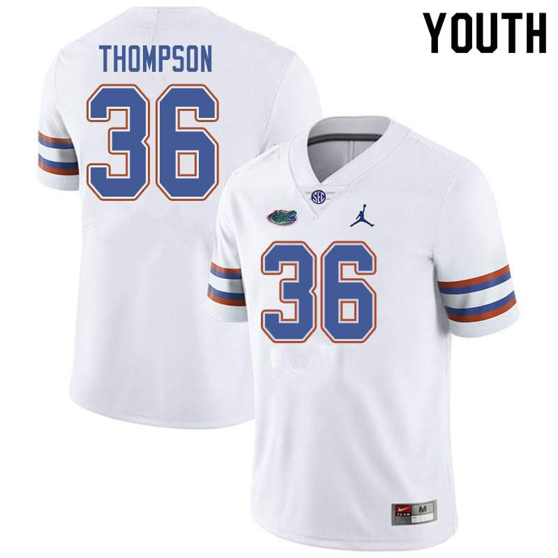Youth Florida Gators #36 Trey Thompson White Jordan Brand NCAA College Football Jersey VSC615OJ
