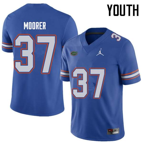 Youth Florida Gators #37 Patrick Moorer Royal Jordan Brand NCAA College Football Jersey YTN436DJ