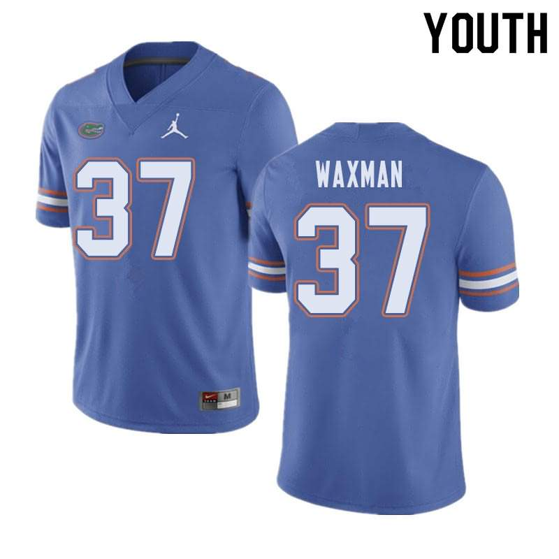 Youth Florida Gators #37 Tyler Waxman Blue Jordan Brand NCAA College Football Jersey SJB408NJ