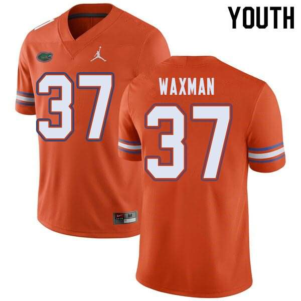 Youth Florida Gators #37 Tyler Waxman Orange Jordan Brand NCAA College Football Jersey NYE215FJ