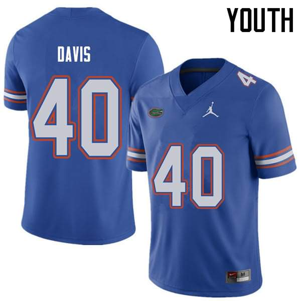 Youth Florida Gators #40 Jarrad Davis Royal Jordan Brand NCAA College Football Jersey BGS612XJ