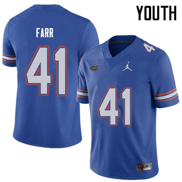 Youth Florida Gators #41 Ryan Farr Royal Jordan Brand NCAA College Football Jersey OTG275NJ