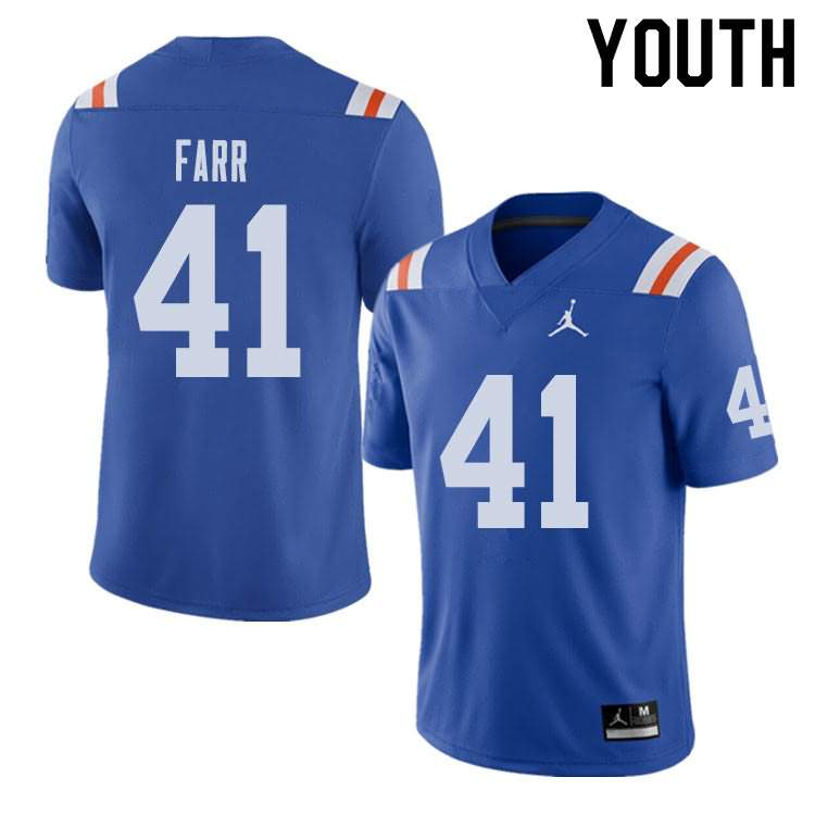 Youth Florida Gators #41 Ryan Farr Alternate Throwback Jordan Brand NCAA College Football Jersey FCW802BJ