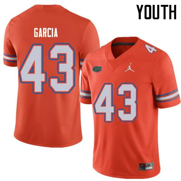 Youth Florida Gators #43 Cristian Garcia Orange Jordan Brand NCAA College Football Jersey POQ515PJ