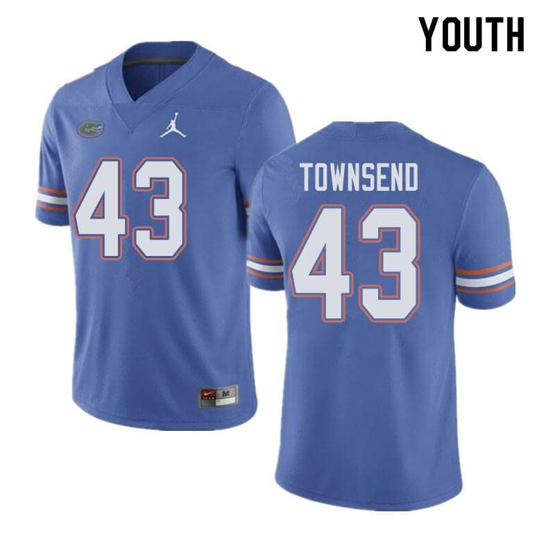 Youth Florida Gators #43 Tommy Townsend Blue Jordan Brand NCAA College Football Jersey ESF711QJ