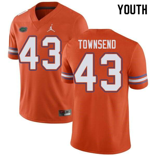 Youth Florida Gators #43 Tommy Townsend Orange Jordan Brand NCAA College Football Jersey XWK047KJ