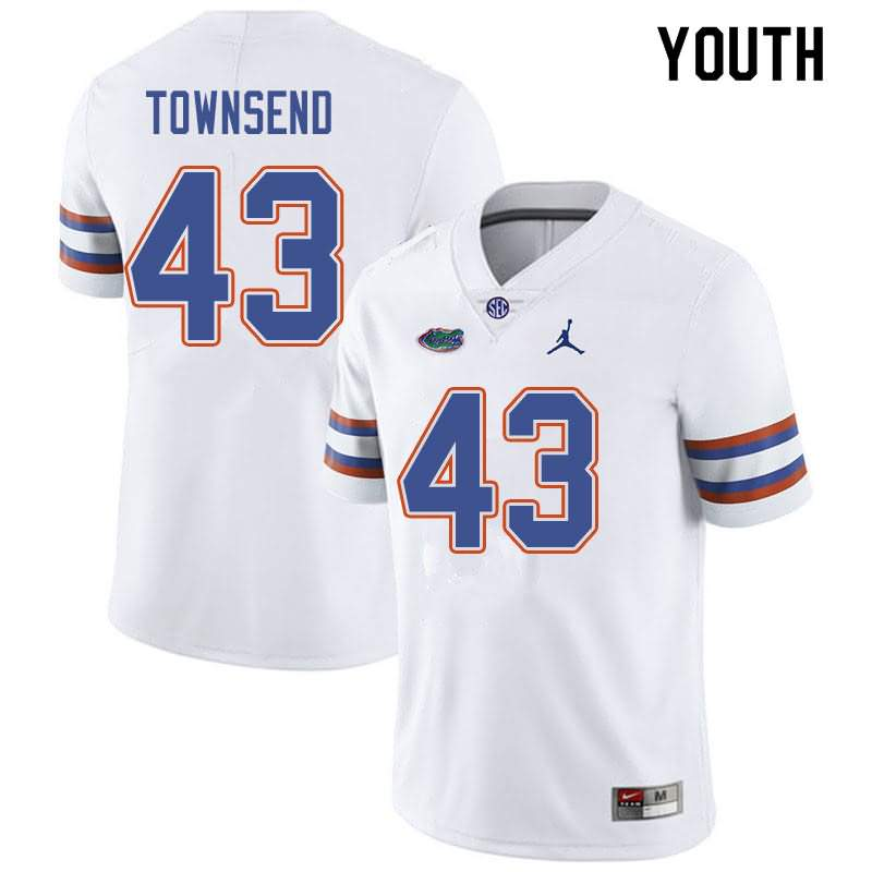 Youth Florida Gators #43 Tommy Townsend White Jordan Brand NCAA College Football Jersey EEX808WJ