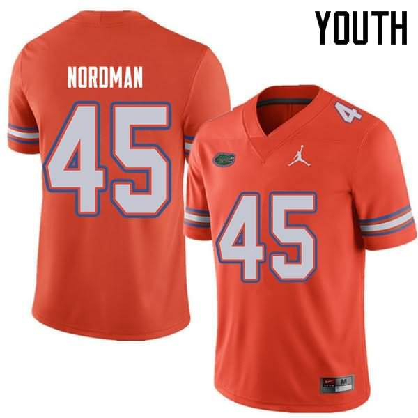 Youth Florida Gators #45 Charles Nordman Orange Jordan Brand NCAA College Football Jersey WUA211UJ