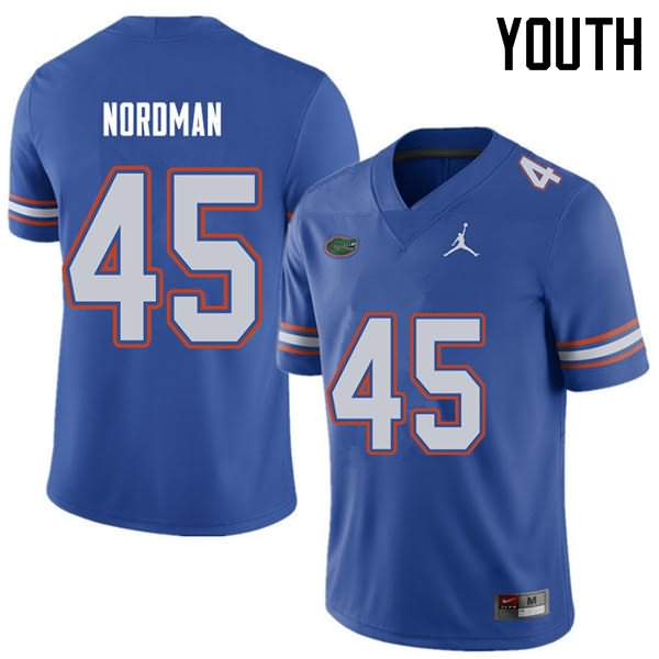 Youth Florida Gators #45 Charles Nordman Royal Jordan Brand NCAA College Football Jersey LPT562VJ