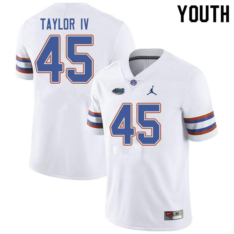 Youth Florida Gators #45 Clifford Taylor IV White Jordan Brand NCAA College Football Jersey OFI540UJ