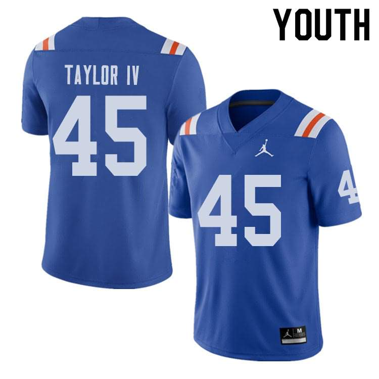 Youth Florida Gators #45 Clifford Taylor IV Alternate Throwback Jordan Brand NCAA College Football Jersey VAU173HJ