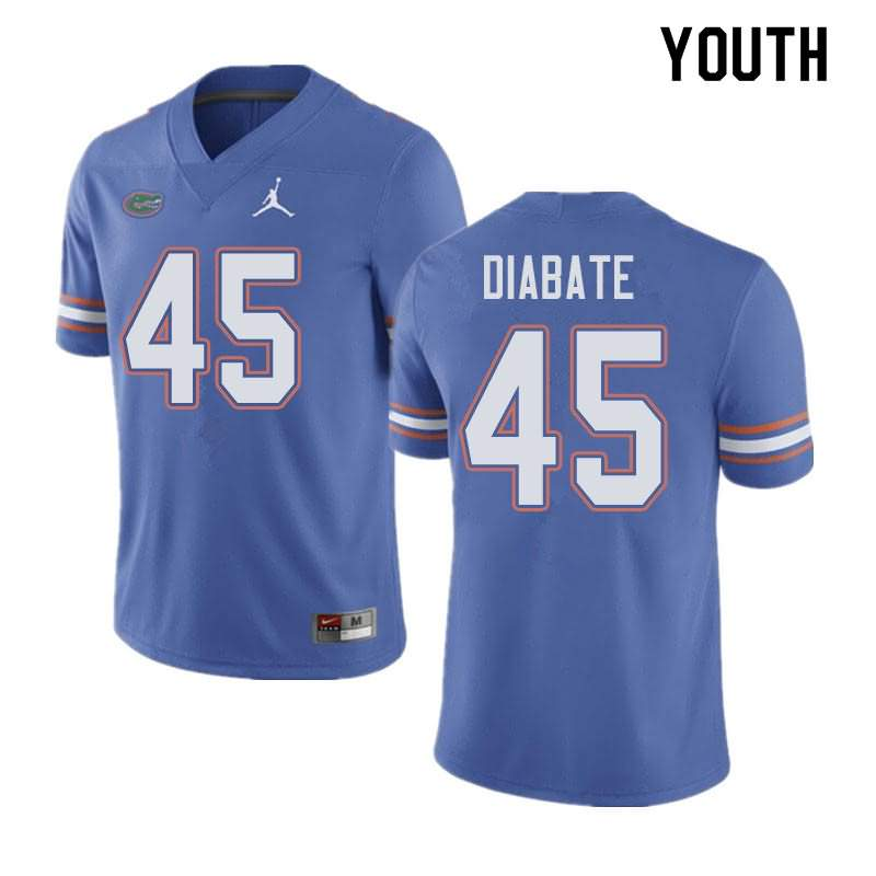 Youth Florida Gators #45 Mohamoud Diabate Blue Jordan Brand NCAA College Football Jersey BHH070QJ