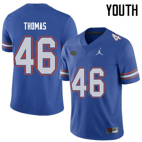 Youth Florida Gators #46 Will Thomas Royal Jordan Brand NCAA College Football Jersey NLV534RJ