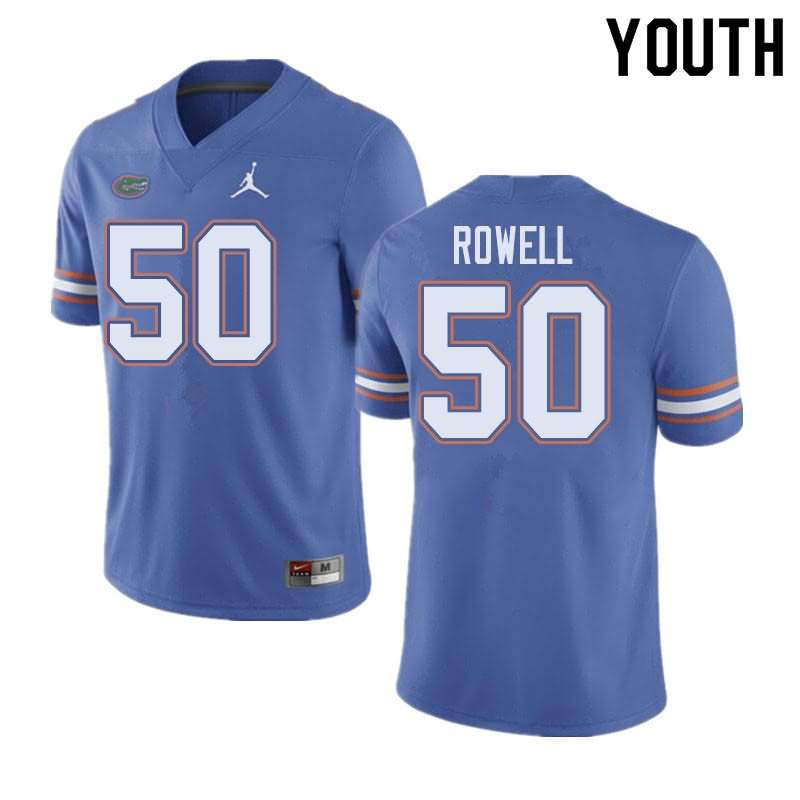 Youth Florida Gators #50 Tanner Rowell Blue Jordan Brand NCAA College Football Jersey BQE222HJ