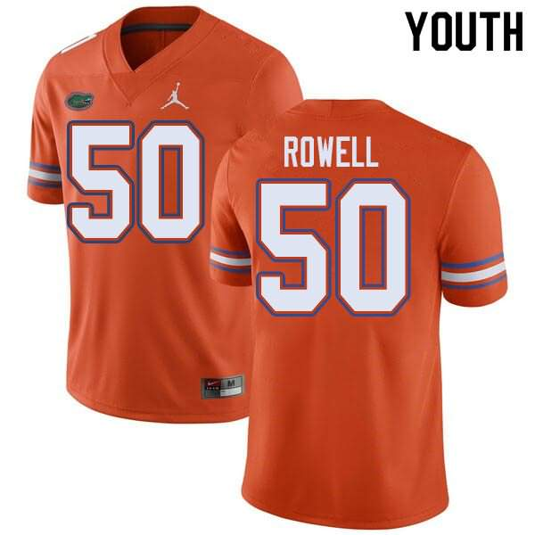 Youth Florida Gators #50 Tanner Rowell Orange Jordan Brand NCAA College Football Jersey OSE265ZJ