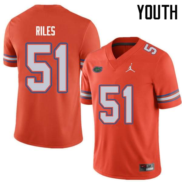 Youth Florida Gators #51 Antonio Riles Orange Jordan Brand NCAA College Football Jersey DNA042QJ