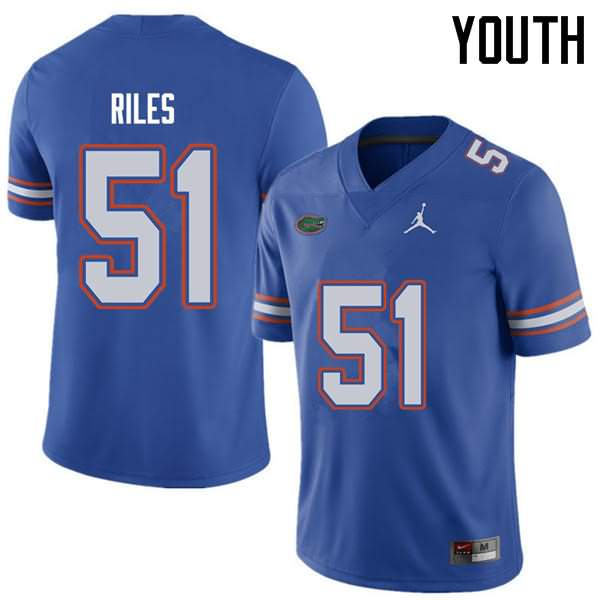 Youth Florida Gators #51 Antonio Riles Royal Jordan Brand NCAA College Football Jersey IHB228PJ