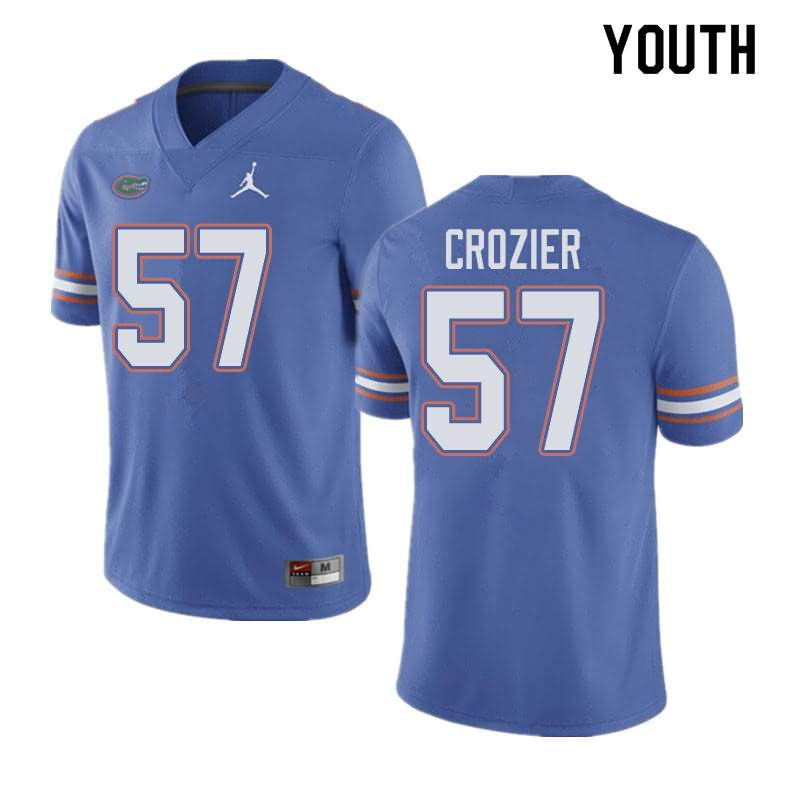 Youth Florida Gators #57 Coleman Crozier Blue Jordan Brand NCAA College Football Jersey QOG528MJ