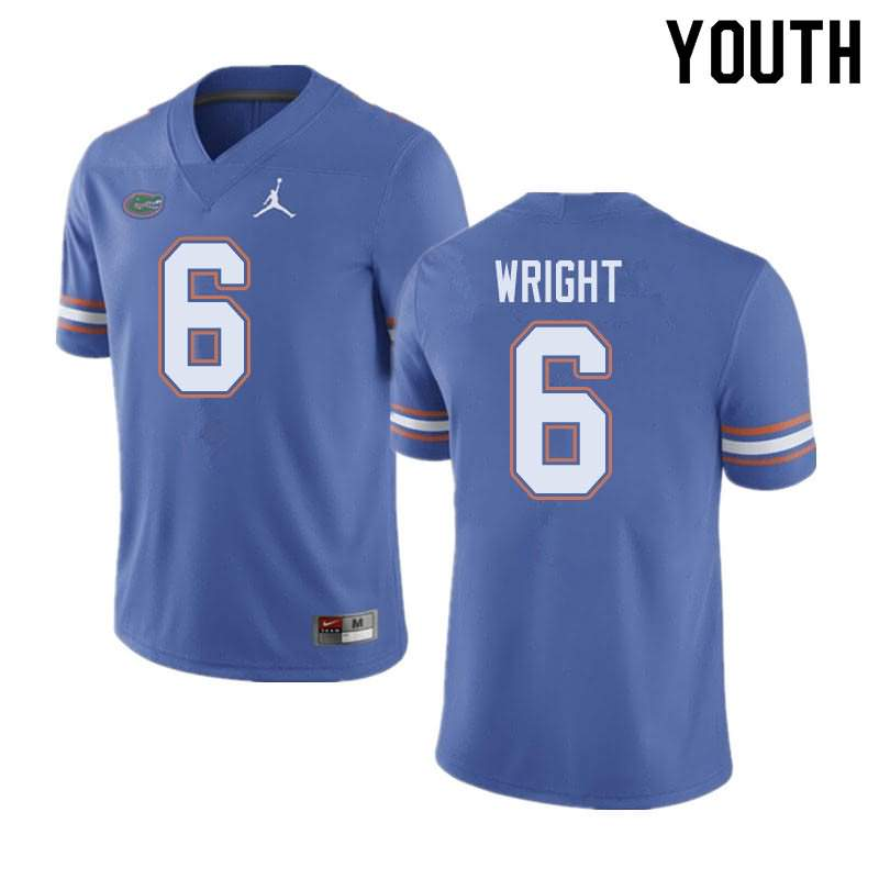 Youth Florida Gators #6 Nay'Quan Wright Blue Jordan Brand NCAA College Football Jersey AFG662AJ