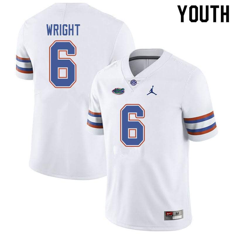 Youth Florida Gators #6 Nay'Quan Wright White Jordan Brand NCAA College Football Jersey ZLX122ZJ