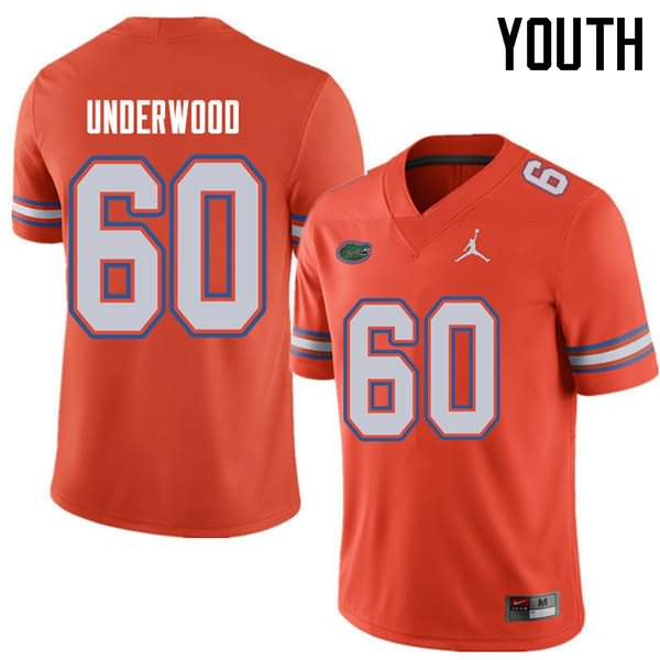 Youth Florida Gators #60 Houston Underwood Orange Jordan Brand NCAA College Football Jersey QOK555DJ