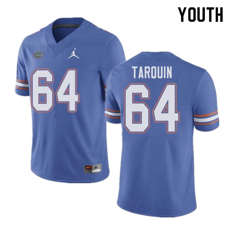 Youth Florida Gators #64 Michael Tarquin Blue Jordan Brand NCAA College Football Jersey HLT377YJ