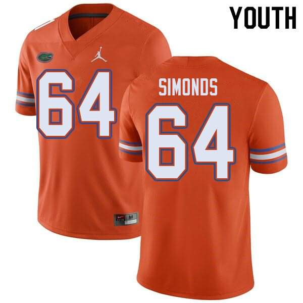 Youth Florida Gators #64 Riley Simonds Orange Jordan Brand NCAA College Football Jersey OJB277WJ