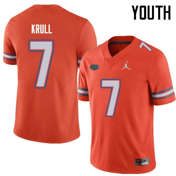 Youth Florida Gators #7 Lucas Krull Orange Jordan Brand NCAA College Football Jersey DZR848IJ