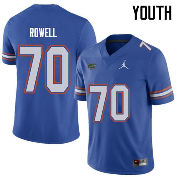 Youth Florida Gators #70 Tanner Rowell Royal Jordan Brand NCAA College Football Jersey HEQ303JJ