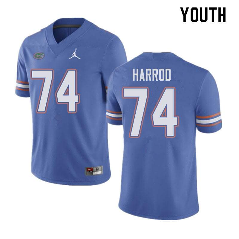 Youth Florida Gators #74 Will Harrod Blue Jordan Brand NCAA College Football Jersey JEZ460YJ