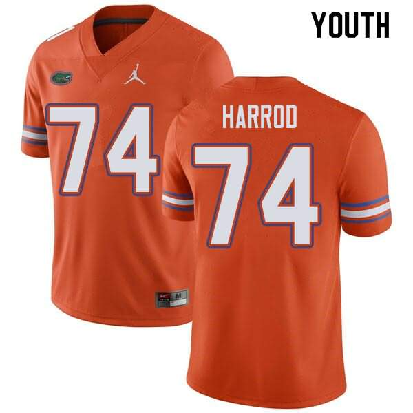 Youth Florida Gators #74 Will Harrod Orange Jordan Brand NCAA College Football Jersey YYW465NJ